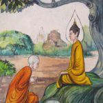 Budda i uchenik. Risunok na stene monastyrya v Laose. Laos. Luang Phabang 150x150 - Храмы и Закаты на Храмовой Горе Пху Си (Phu Si Mount)