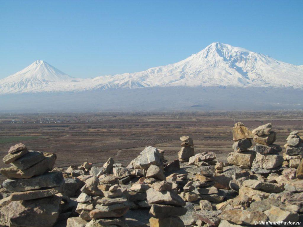 Gora malyj i bolshoj Ararat vid iz Armenii 1024x768 - Арарат и монастырь Хор Вирап (Khor Virap). Достопримечательности Армении