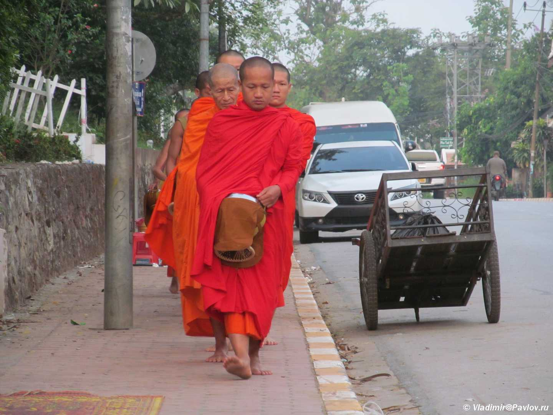 Monahi s chashami dlya podayaniya na ulitse Luang Prabanga. Laos - Ритуал Подношения пищи монахам (Tak Bat). Лаос