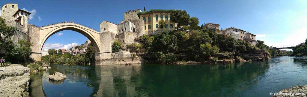 Mostar. Mostar. Vid na dva mosta 1024x326 - Традиции Мостара (Mostar). Прыгуны с моста