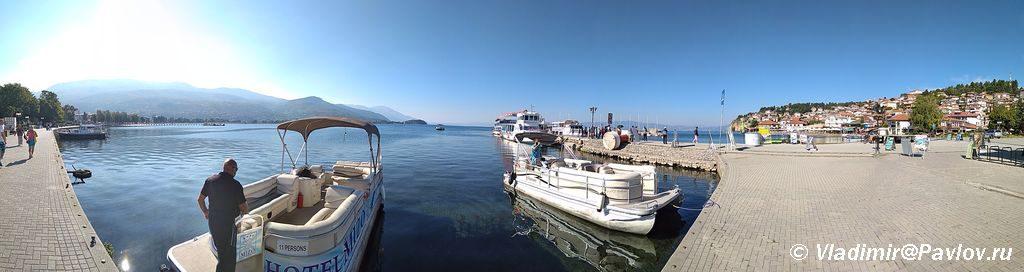 Naberezhnaya ozera Ohrid. Panorama 1024x272 - Набережная Охрида. Экскурсии по Охриду на лодках.
