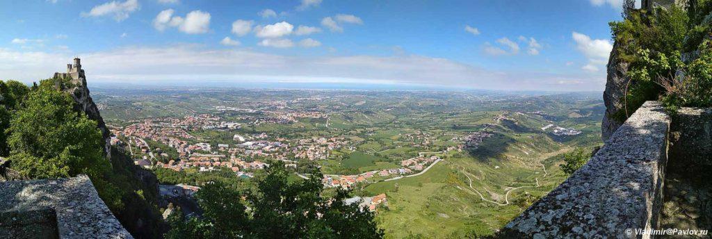 Panorama s vidom na krepost Guaita v San Marino. Guaita San Marino 1024x344 - Республика Сан Марино. San Marino, Продолжение.