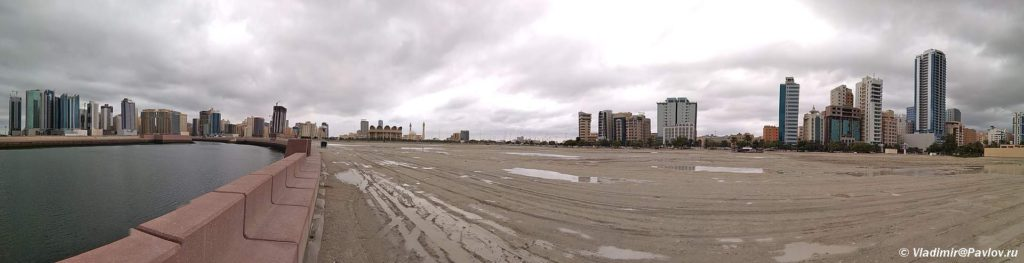 Panorami Manamy i rajon Dzhafejr s naberezhnoj. Bahrejn 1024x263 - Пляжи Бахрейна. Где купаться в Бахрейне