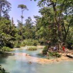 Posle vodopada voda protekaet cherez takie chashi. Vodopad Phu Si Phu Si waterfall. Laos. Dostoprimechatelnosti Luang Prabang. Laos Luang Prabang 150x150 - Окрестности Луанг Прабанг. Пещера Пхалуеси (Phaluesi Cave). Водопад Пху Си (Phu Si Waterfall)
