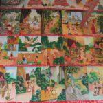 Syuzhety na buddijskie temy na stene monastyrya. Laos 150x150 - Храмы и Закаты на Храмовой Горе Пху Си (Phu Si Mount)