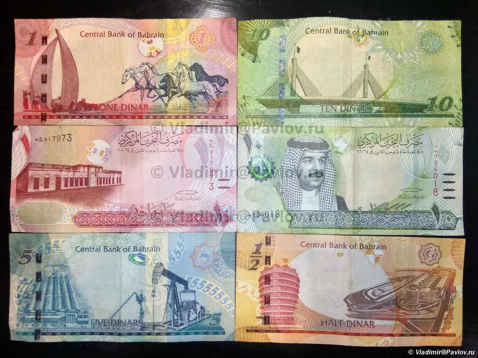 Valyuta Bahrejna bahrejnskie dinary BHD. Kurs dinara 26589 amerikanskih dollarov  - Полезная информация о Бахрейне для туристов